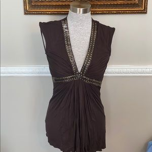 Brown Sky Top with Plunging V neck
